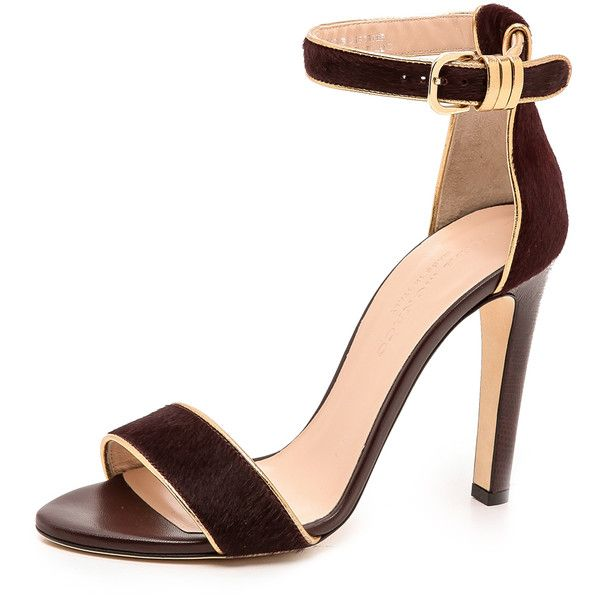 Club Monaco Casey Haircalf Sandals - Burgundy/Gold ($81) ❤ liked on Polyvore featuring shoes, sandals, heels, gold heel shoes, gold high heel shoes, gold high heel sandals, high heel sandals and buckle sandals