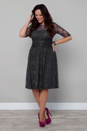 Luna Lace Dress-TWILIGHT GREY $168