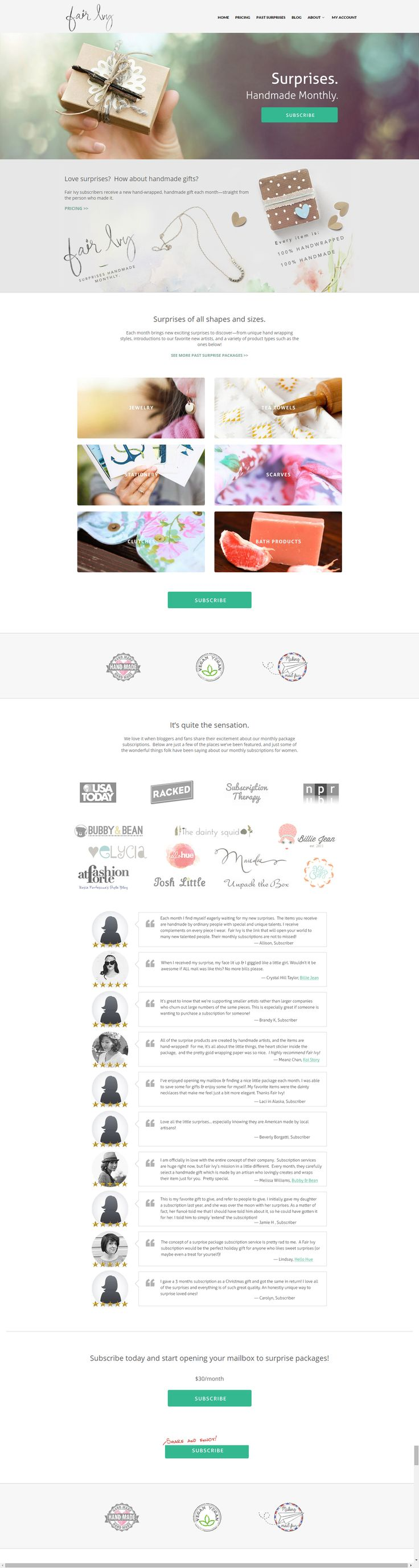 A lovely site for a subscription based service that supports handmade businesses and send unique surprise gifts. Built using The Retailer Responsive Wordpress Theme: #siteoftheday #website #wordpress #handmade #surprise https://themeforest.net/item/the-retailer-responsive-wordpress-theme/4287447?utm_source=pinterest.com&utm_medium=social&utm_content=fair-ivy&utm_campaign=showcase