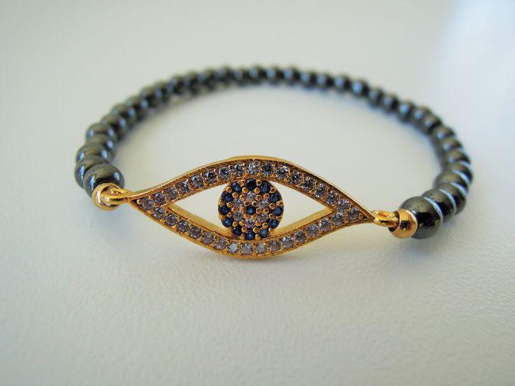 Turkish Eye Bracelet, Best Friend Jewelry, Gold Turkish Eye Bracelet,friendship jewelry,Rhinestone Bracelet, Turkish evil eye, yoga bracelet by ebrukjewelry on Etsy