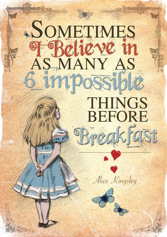 Alice in Wonderland A4 Printable Poster Art - Mad Hatter Tea Party 6 impossible things Quote