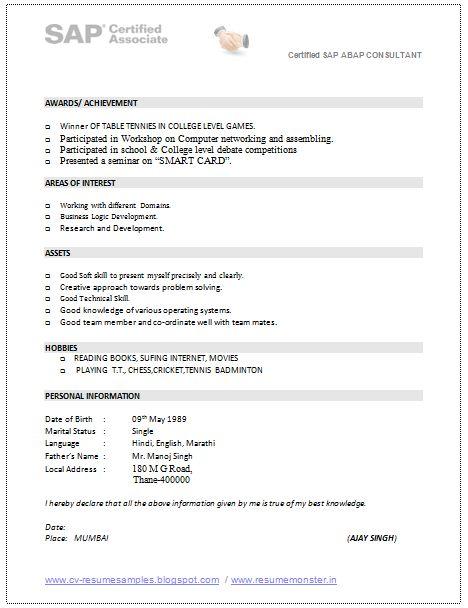 158 best Resume Tips images on Pinterest - abap consultant sample resume
