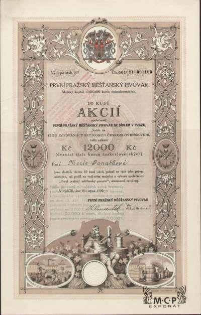 A1130 Muzeum cennych papiru / První pražský měšťanský pivovar 10 x 1 200 Kč, Praha 20.08.1930