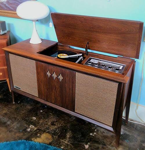 1960s Sylvania AM/FM Stereo, record player, walnut cabinet, mid century modern - (vintage lady, 1960s, home furnishings, space era decor)