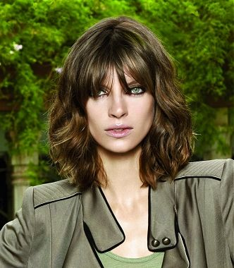 A medium brown straight wavy coloured shaggy hairstyle by Revlon Professional