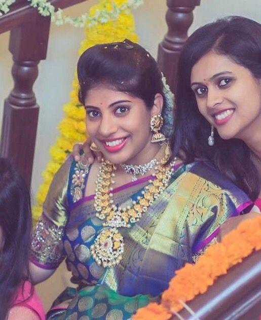 Bridal saree heavy blouse embroidery Telugu bride Tamil bride Heavy Bridal Jewellery haaram jhumkha Diamond Jewellery