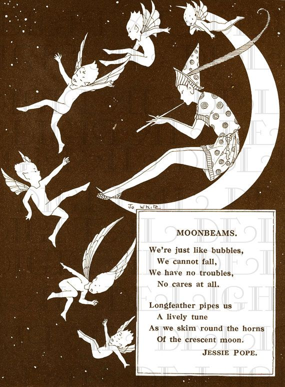 Moonbeams. Little Elves Dance on MOON. Vintage Illustration. Fairy DIGITAL…