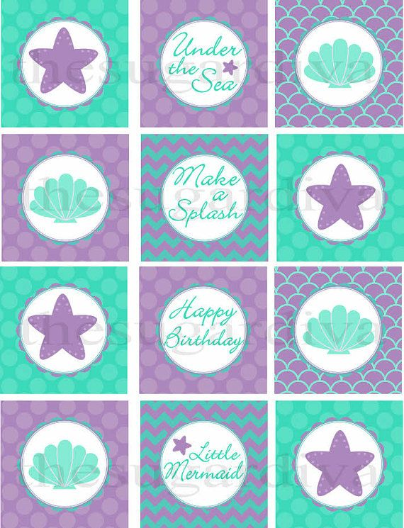 Under the Sea Cupcake Topper, Under the Sea Birthday Tag, Decoration, Mermaid  Party, Mermaid Printable, Under the Sea,  Instant Download on Etsy, $4.25