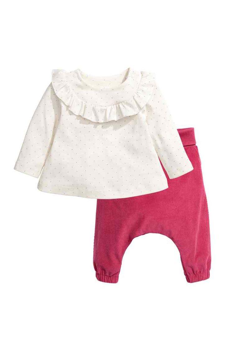 Jersey y pantalón de pana - Blanco natural/Rosa - NIÑOS | H&M ES 1