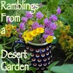 Purple Lantana and Desert Marigold Bouquet in Polish Pottery pitcher.