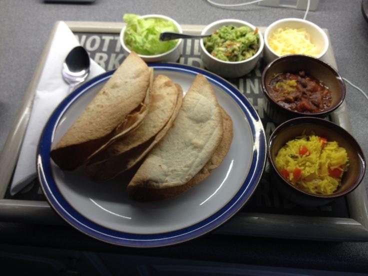 Black bean chili, mixed pepper basmati rice, guacamole and tacos