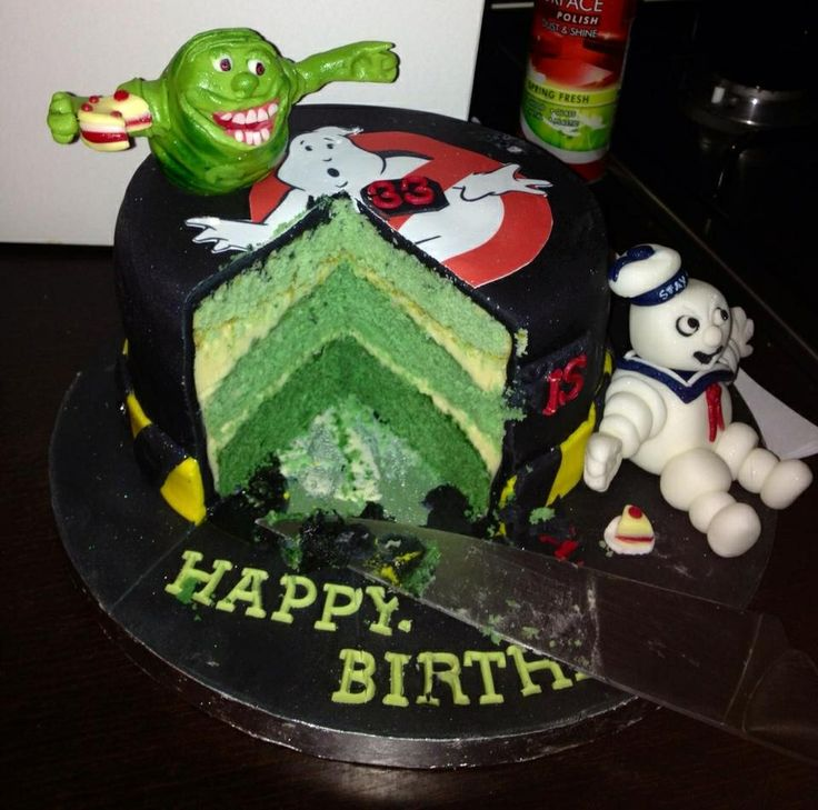 Inside Ghostbusters Cake Slimer Green Birthday Ideas