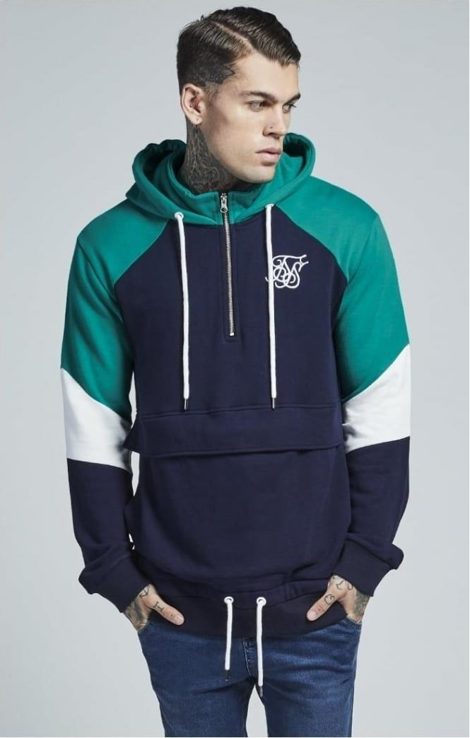 SikSilk Half Zip Pocket Hoodie – Navy   Teal  fe183120d6