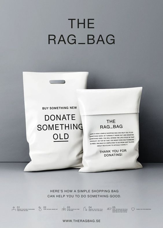 (10) The Rag Bag | Minimal Fashion Sustainable Packaging Bag Design | Award-winning Packaging Design | D | Packaging -- | Pinterest / Packaging / Design / Ideas / Inspiration / Minimal / Minimalist / Simple / Environmental / Retailer / Clothing