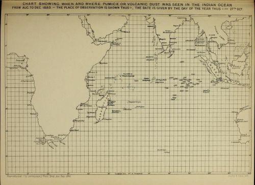 」を示すチャート時と軽石や火山灰は、8月から12月1883年にインド洋で見られた場所」Krakatoa_ 1888の_The噴火。