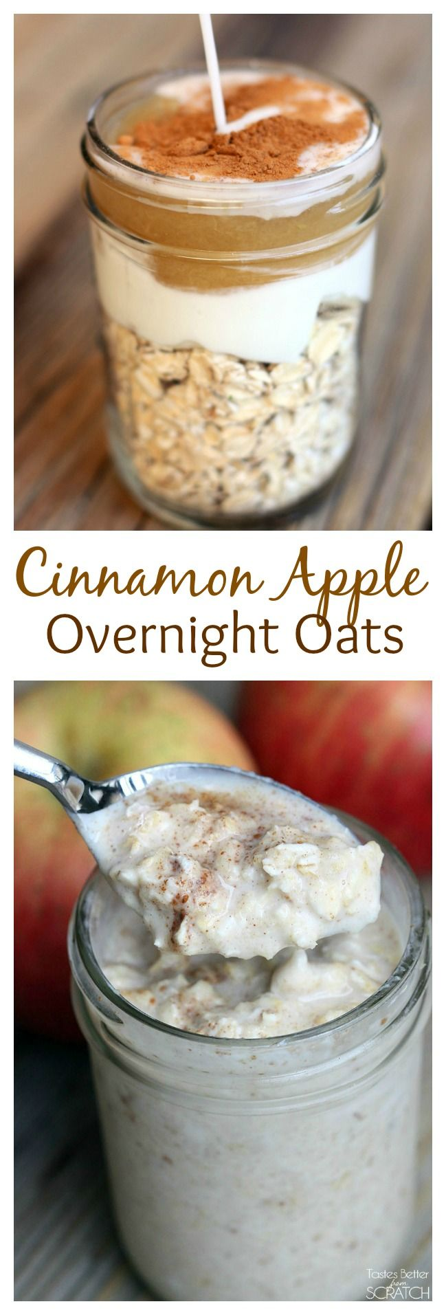 Cinnamon Apple Overnight Oats the easiest, healthy breakfast! Mix the ingredients the night before and it's ready to go by morning