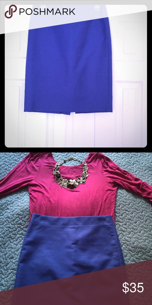Bundle of two Classic J Crew Blue Pencil Skirts A must have item for any wardrobe! The blue pencil skirt is a colorful update to a classic piece while the cream colored skit is a neutral staple. Skirts Pencil