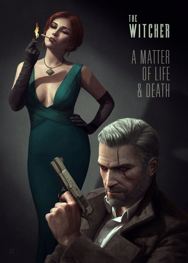 A faux poster of a modern, noirish, Witcher.  Check the Behance page for closeups –> Here. – Audrey Ridge