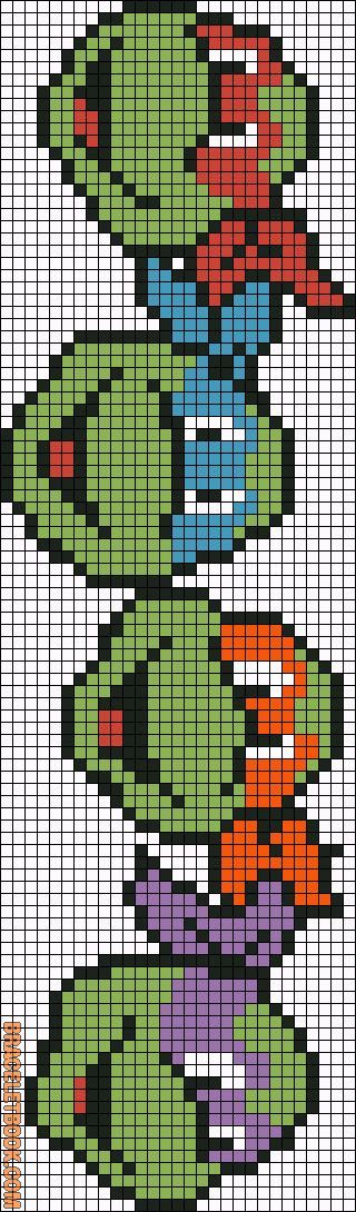 Cross-stitch TMNT Bookmark ... no color chart available, just use pattern chart as your color guide...     Rotated Alpha Pattern #5772 added by arbarnett