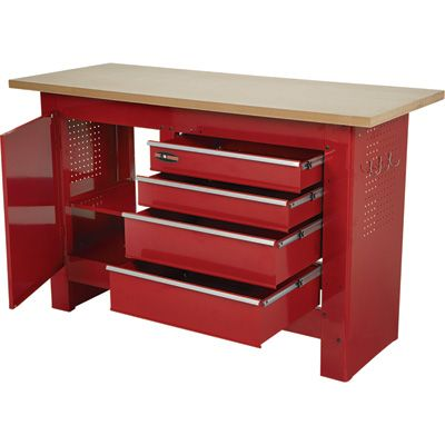 Waterloo 60in 4 Drawer Workbench With Wooden Top 60in W X