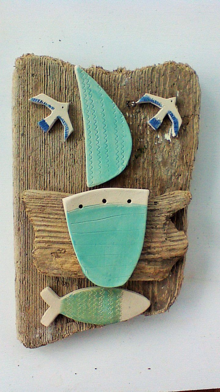 coastal style wall,art with driftwood and ceramic, coastal decor, beach hut decor, nautical style, sailing boat decor, beach style interior by SkelligPotteryShop on Etsy