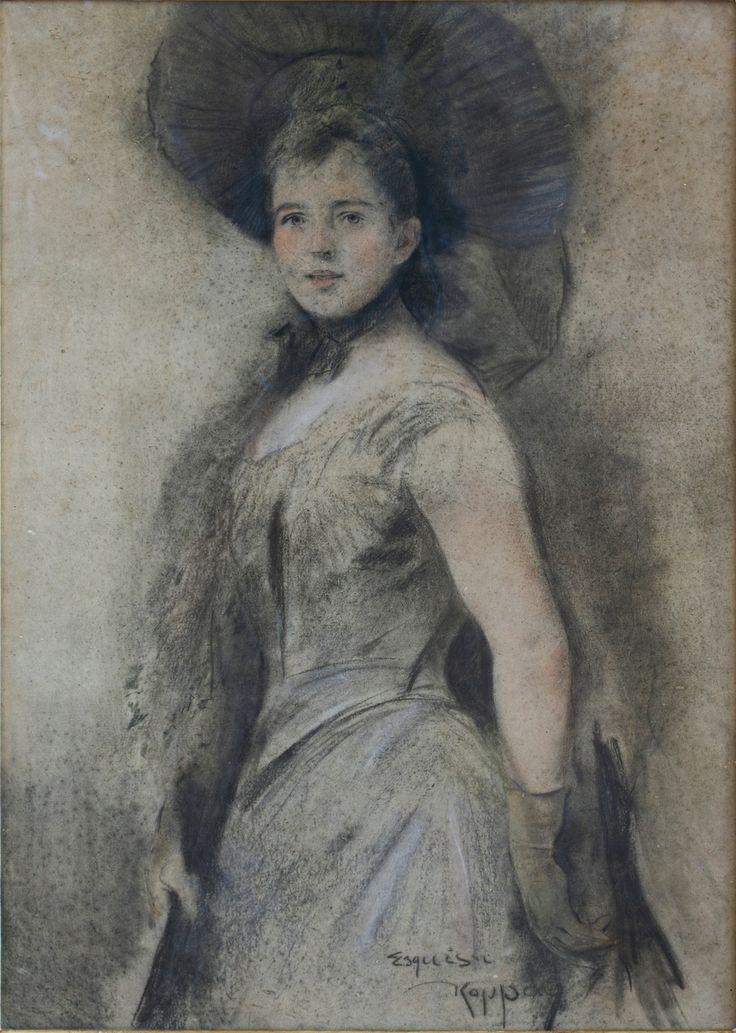"""Portrait of a young woman"" by Jozef Kopaj"