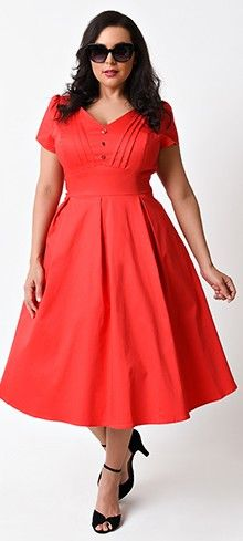 Plus Size 1950s Pin Up Style Red Scarlett Cap Sleeve Stretch Swing Dress