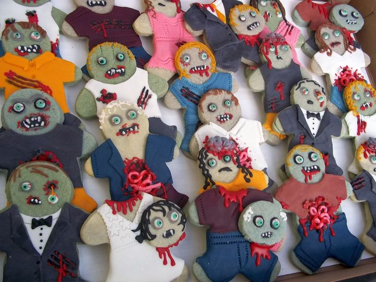 """some crazy zombie cookies for a friend's halloween party. I really try hard to make them """"Fun, yet disgusting"""" for their food theme :D"""