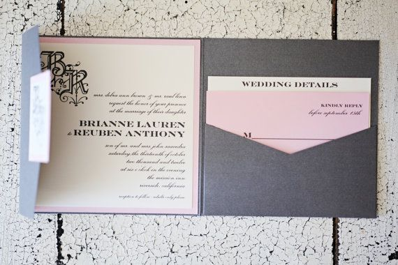 Romantic Wedding Invitation l Shimmer Pocket l by InvitedbyBlue, $7.25 The pocket style we are looking at
