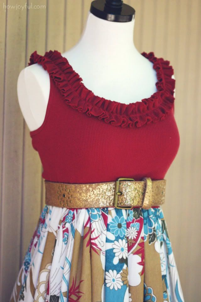 Cute homemade dress from fabric and a tank top....not the pattern of the skirt but love the look