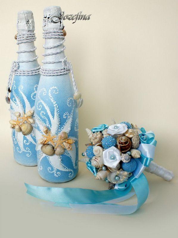 идеи декор бутылок в морском стиле - Buscar con Google