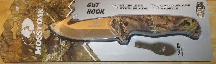 Mossy Oak Camouflage Gut Hook Fixed Blade Hunters Knife with Black Sheath NEW #MossyOak