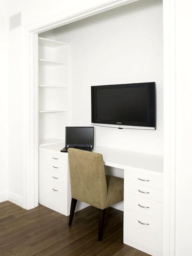 "The Minimalist Closet Transformation    For the minimalist at heart, consider a very streamlined closet-turned-office in your home. The vertical area inside the closet visually extends the space. A few coats of Decorator's white paint and clean door edges will create a built-in design aesthetic that sheds any idea of ""this used to be a closet."" Photo courtesy of Clos-ette."