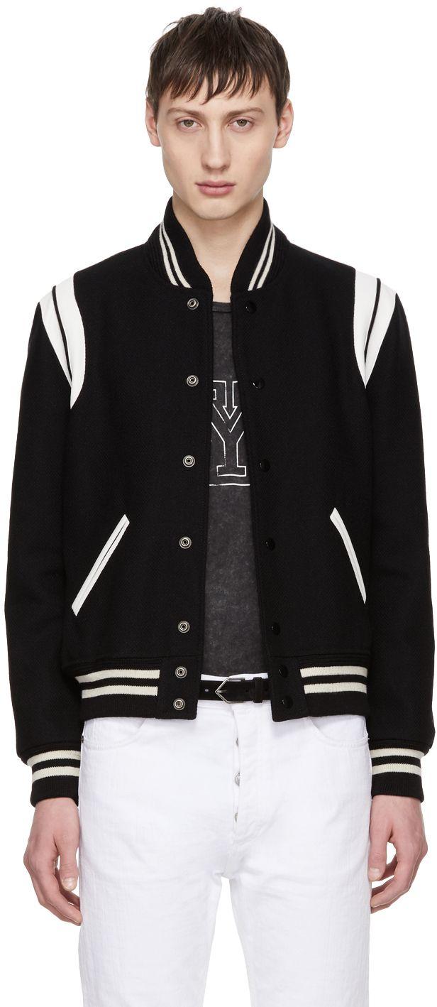 fa334dda6 Saint Laurent - Black & White Teddy Bomber Jacket   DSRPT.   Jackets ...