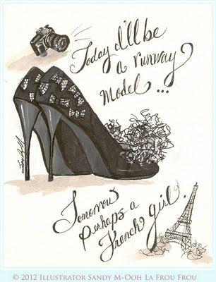 Stiletto from the sketchbook of illustrator SANDY M ~ Ooh La Frou Frou http://oohlafroufrou.blogspot.com #Art #Illustration #Fashion