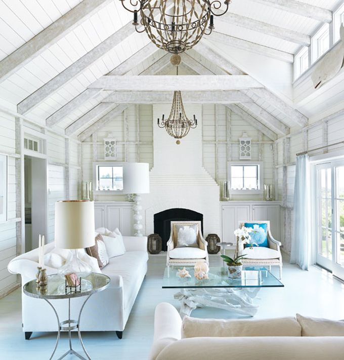 : White Living Rooms, The Crows, Coastal Home, Beams, Interiors Design, Coastal Living, Beaches Houses, Nantucket Style, Beaches Cottages