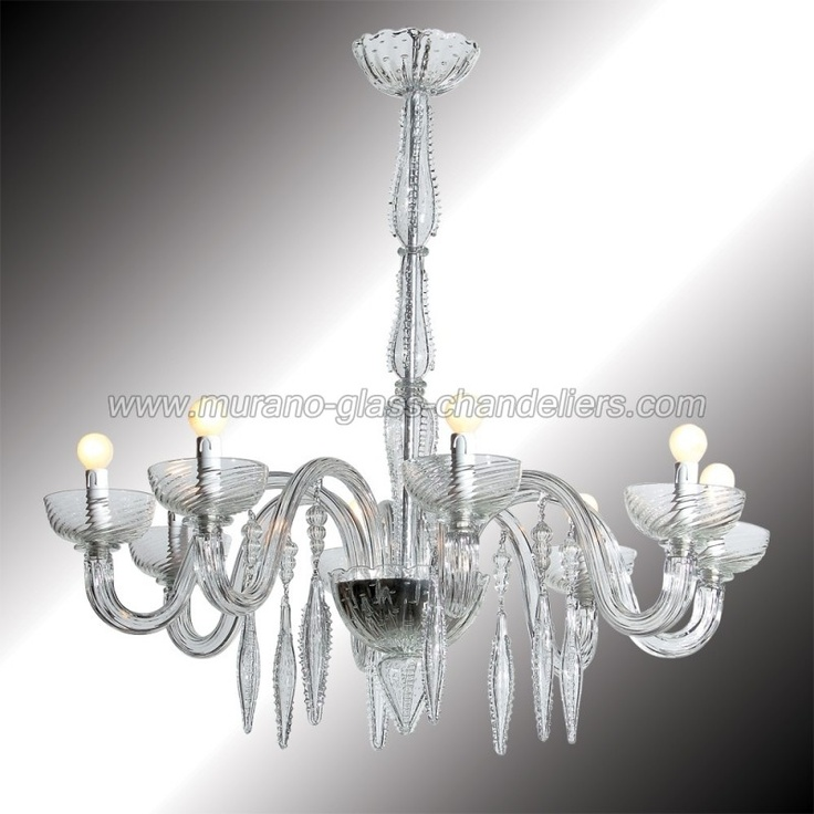 The unique style of this chandelier is due to the air bubbles incorporated in the glass. A particular but traditional technique that has been mastered by Murano glass artisans centuries ago. Genuine Murano glass hand blown in Italy. Wooden crate packing included in price.