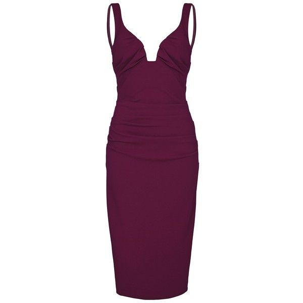 NICOLE MILLER Berry Low Neck Tuck Dress ($595) ❤ liked on Polyvore featuring dresses, berry, going out dresses, cocktail dresses, purple cocktail dresses, holiday dresses and evening party dresses