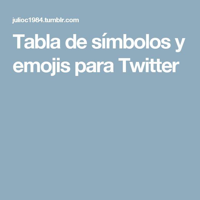 Tabla de símbolos y emojis para Twitter