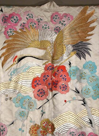 Japanese kimono design with gold crane