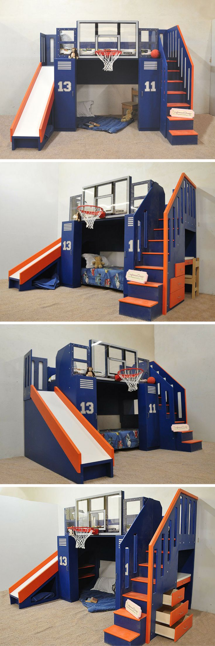 Get the Ultimate in function, and the Ultimate in fun! The Ultimate Basketball Bunk Bed has loads of built in storage to make parents happy, and a built in NBA sized, shatter proof hoop, as well as a slide to entertain the kids! This incredible design can act as a bunk bed, a loft bed, or a kids indoor playhouse. It's great for the sports loving boy or girl in your life, and can even be customized with your child's name and favorite team colors! Click to learn more!