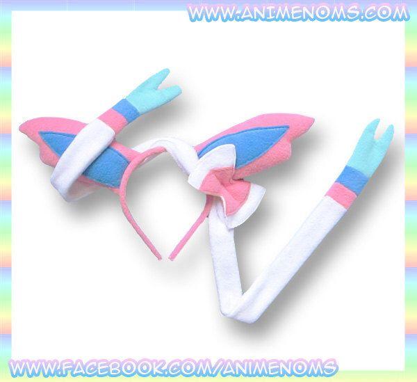 Sylveon Ears Headband - Fleece Anime Geek Gift Eevee Pokemon Pink White Cute Kawaii Cosplay Ears Adult Teen Child by AnimeNoms on Etsy https://www.etsy.com/listing/192222012/sylveon-ears-headband-fleece-anime-geek
