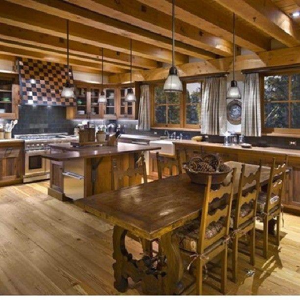 Log Home Kitchen Log Cabin Ideas Pinterest