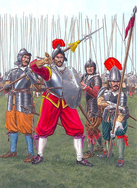 """Imperial Armies - Pikemen, 1618-1640""  • Corporal • Front-rank infantryman • Pikeman in Graz armour • Pikeman in German armour"