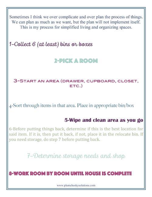 Free Printable Organizing Checklist By Plum Cheeky Solutions