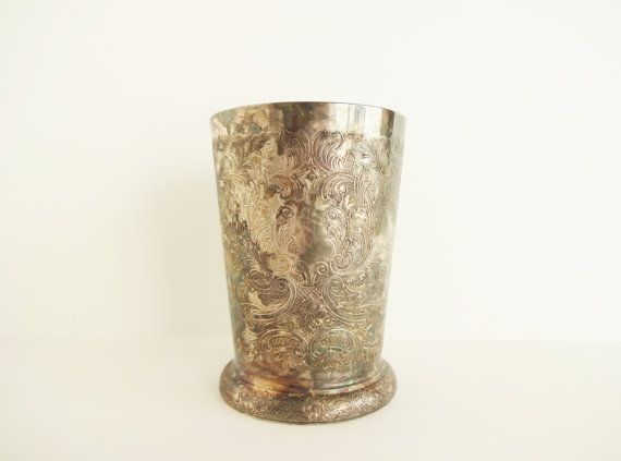 Antique Embossed Silverplate Tumbler  Barker Ellis by LeVieuxSalon