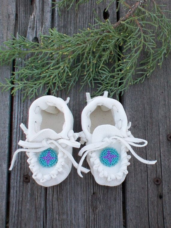 Beaded baby moccasins  white buckskin moccasins  by thunderrose