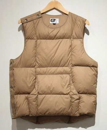 Engineered Garments Down Body Vest in Olive Nylon Taffeta