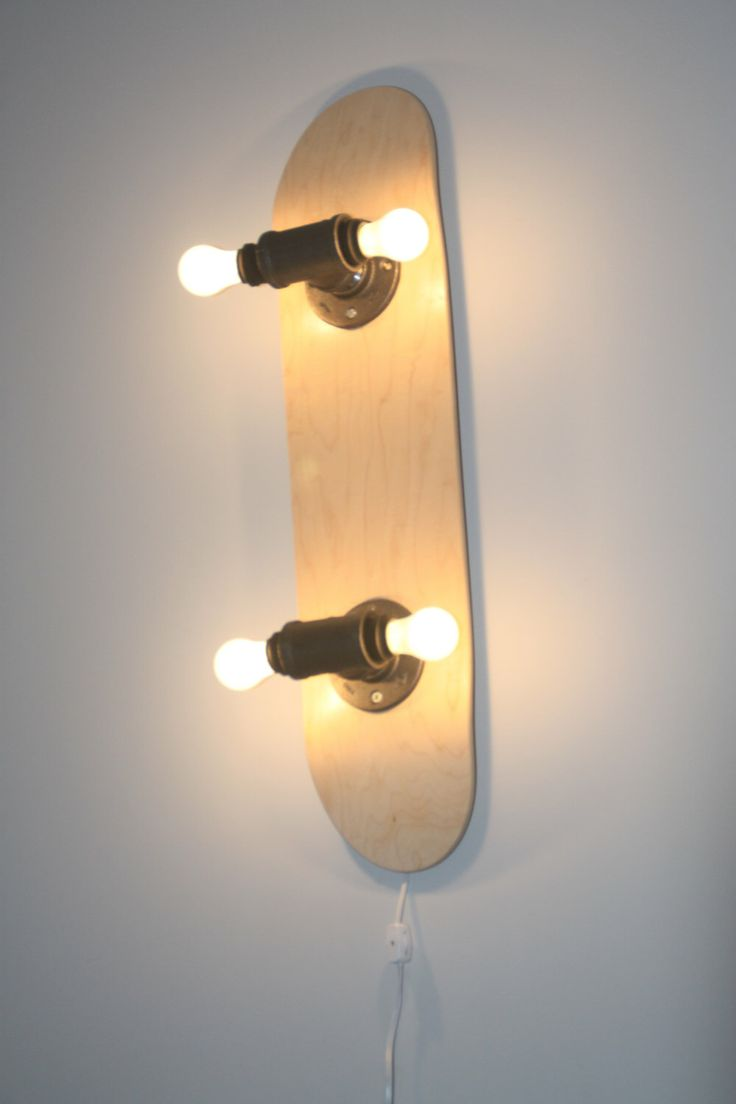 Skateboard Wall Lamp by zboardz on Etsy https://www.etsy.com/listing/262376667/skateboard-wall-lamp