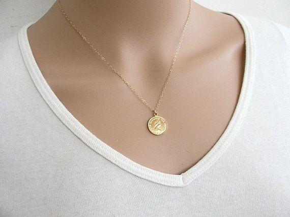 Bijoux en or, collier de pièce de monnaie, or rempli de pièce de monnaie collier, collier pendentif en or, bijoux de pièce de monnaie, délicat collier disque en or, collier fin